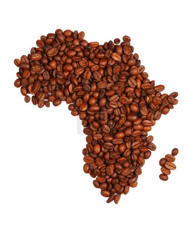Photo pour Continent Afrique faite avec des grains de café - image libre de droit