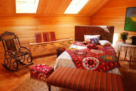 Photo for Wooden bedroom luxury rural interior - Royalty Free Image
