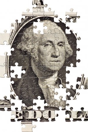 Photo pour Puzzle Washington sur un billet de 1 $ - image libre de droit