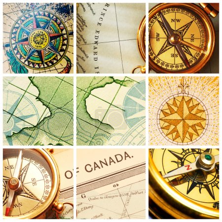 Compass and map collage