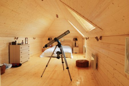 Wooden bedroom with telescope