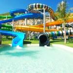 Water park in tropical resort...