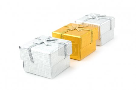 Photo for Three gift boxes on a white background - Royalty Free Image