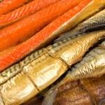Set of smoked fish. Fish background...