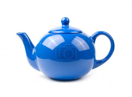 A bright blue ceramic standard design teapot isola...