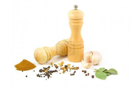 Photo for Wooden salt shaker and pepper grinder and set of spices on a white background. - Royalty Free Image