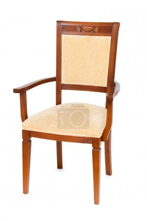 Photo pour Fauteuil en bois isolé sur le blanc - image libre de droit