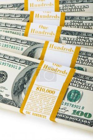 Close up of dollar stacks