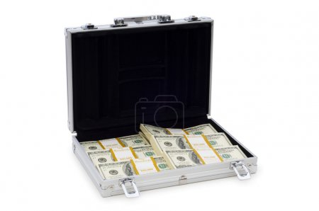Metal case and lots of dollars on white