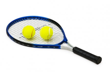 Two tennis balls and racquet