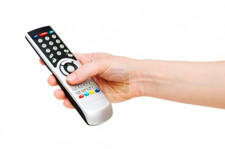 Hand with remote control isolated