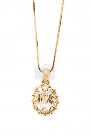 Golden necklace isolated on the white