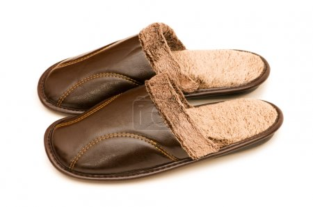 Leather slippers isolated on the white