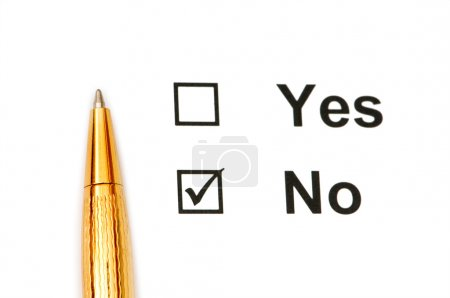 Photo for Pen and tick boxes with Yes and No options - Royalty Free Image