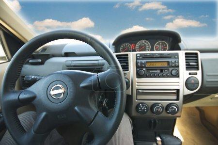 Interior of a modern car at driving seat