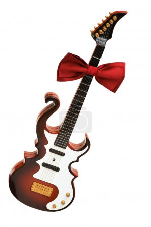 Guitar and bow tie isolated