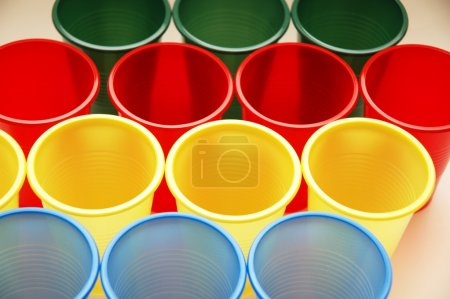 Plastic cups of various colours