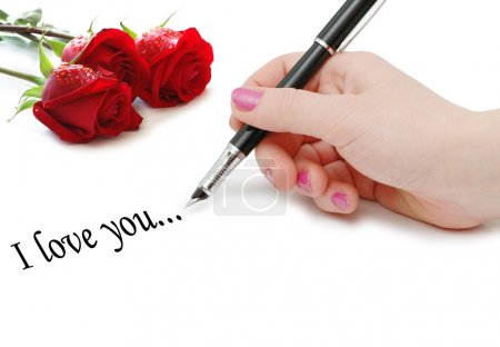 I love you message with roses