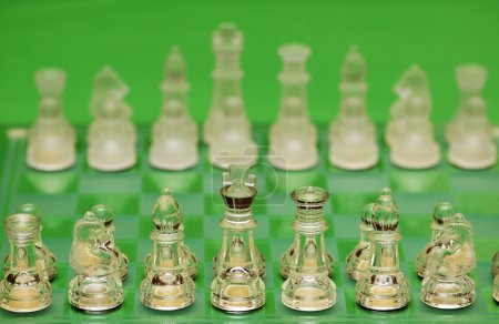 Glass chess figures against green