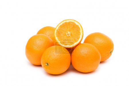 Two oranges isolated on the white background...
