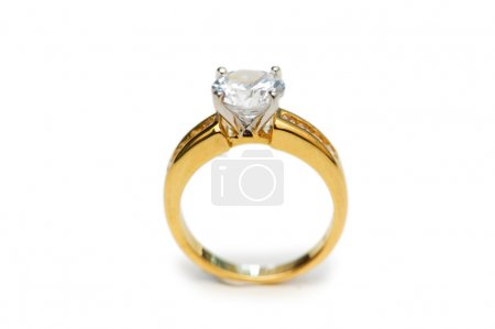 Photo for Golden ring with diamond isolated on the white - Royalty Free Image