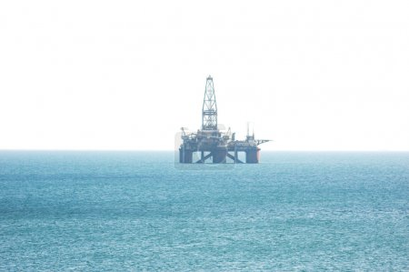 Oil platform in the Caspian sea isolated on the wh...
