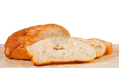 Roll of white white bread and three cut