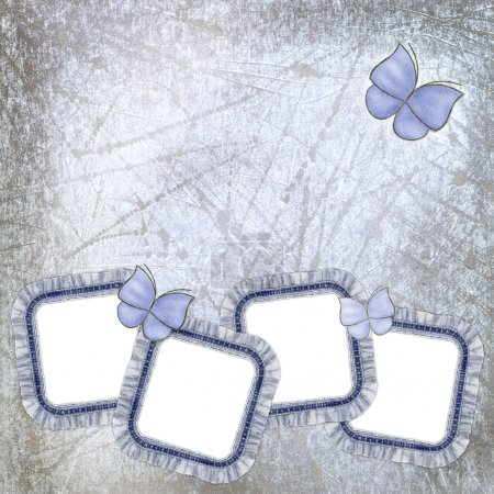 Four jeans frames with lace and batterfl