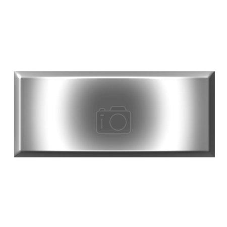 Photo pour Bouton carré argent 3d isolé en blanc - image libre de droit