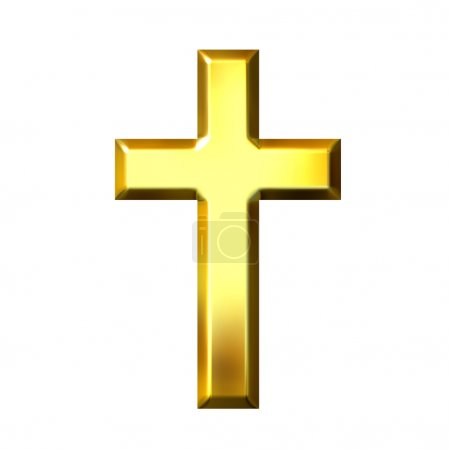 Photo for 3d golden cross isolated in white - Royalty Free Image