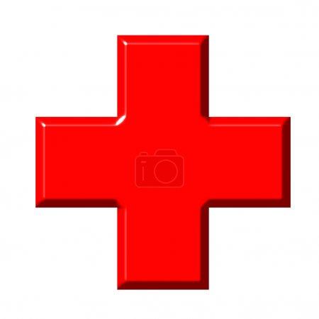Photo pour Croix rouge 3d isolée en blanc - image libre de droit
