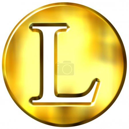 Photo pour 3d lettre d'or l isolé en blanc - image libre de droit