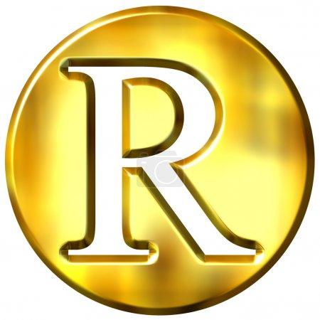 3d goldener Buchstabe r