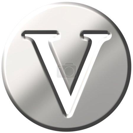 3D Steel Letter V