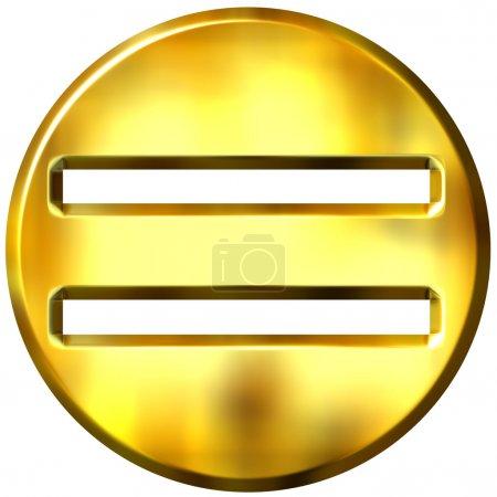 Photo pour Symbole d'égalité encadrée d'or 3D isolé en blanc - image libre de droit