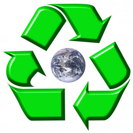 Recycling symbol surrounding earth