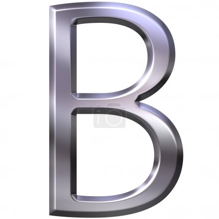 Photo for 3d silver letter B isolated in white - Royalty Free Image