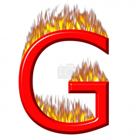3d letter G on fire isolated in white...