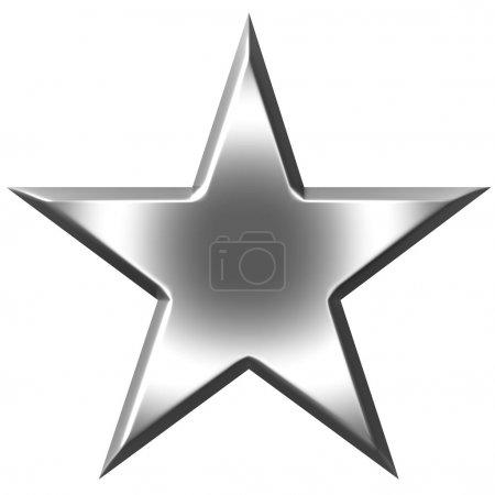 Foto de 3d estrella de plata aislada en blanco - Imagen libre de derechos