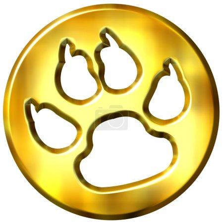 3D Golden Framed Dog Print