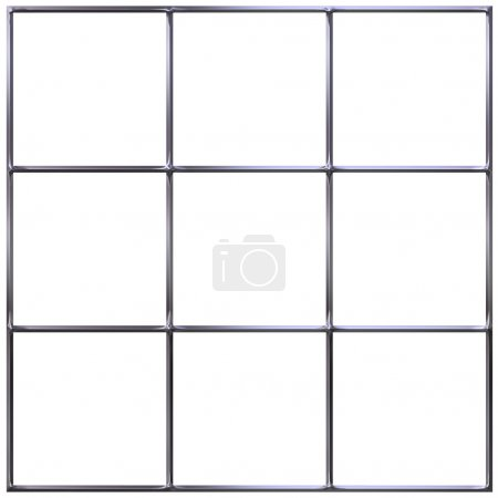 Photo for 3d chrome grid isolated in white - Royalty Free Image