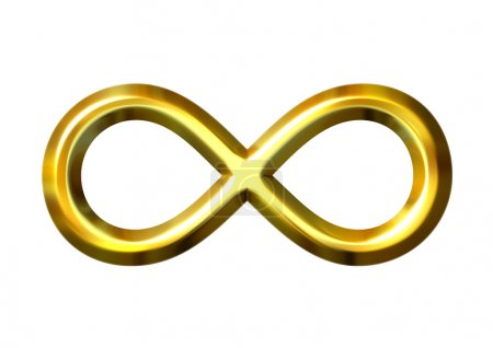 Photo for 3d golden infinity symbol isolated in white - Royalty Free Image