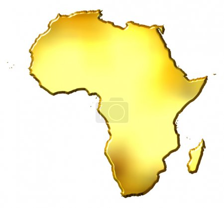 Photo pour Carte de golden 3d Afrique isolée en blanc - image libre de droit