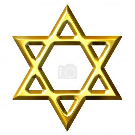 Foto de 3d estrella dorada de David aislado en blanco - Imagen libre de derechos