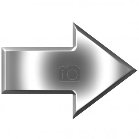 Photo for 3d silver arrow isolated in white - Royalty Free Image