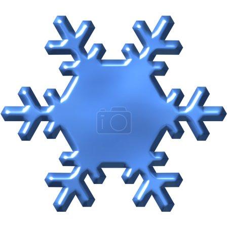 Foto de Copo de nieve azul 3D aislado en blanco - Imagen libre de derechos