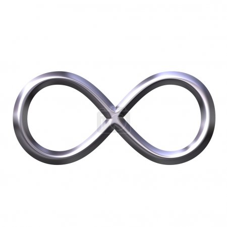 Photo for 3d silver infinity symbol isolated in white - Royalty Free Image