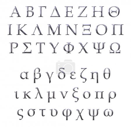 Photo for 3d Silver Greek alphabet isolated in white - Royalty Free Image
