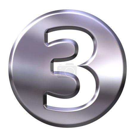 3D Silver Framed Number 3