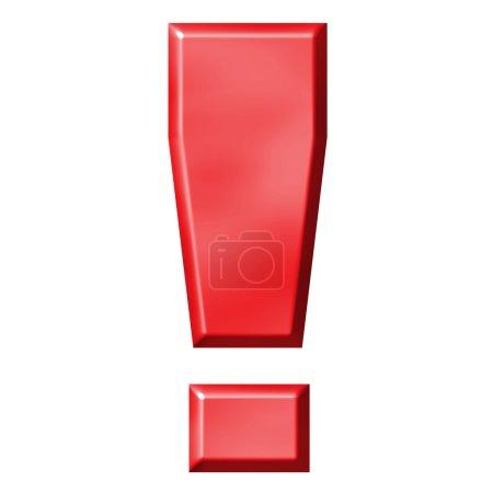 Photo pour D'exclamation rouge 3D isolée en blanc - image libre de droit